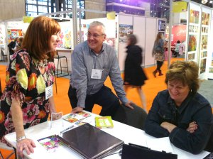 Curt and I meeting with Martha Collins, one of our artists, at the Surtex in New York.