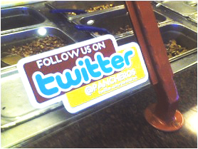 Sticker Asking Customers to Follow Us on Twitter