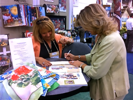 Magnet Works customer Susan Van Putte from Van Putte Gardens in Rochester, NY working with Deb Baker at the IGC show.