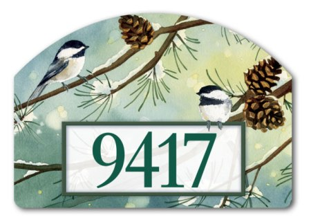 Chickadees and Pine by Lynnea Washburn