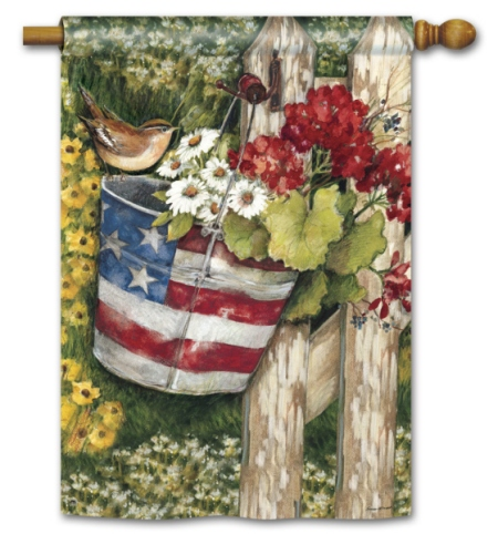 Patriotic Pail BreezeArt Standard Flag by Susan Winget