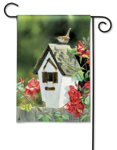 Rose Cottage Wrens BreezeArt Garden Flag by Susan Bourdet