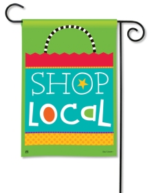 """Local Shopping Bag"" garden flag by Holli Conger SKU: 31185D"