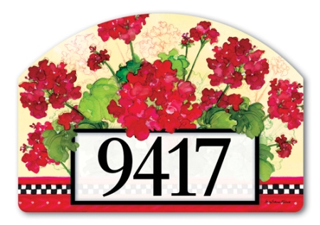 """Geraniums and Checks"" by Sally Eckman Roberts SKU: 71191"