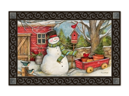 2-11434-Red Barn Snowman-Susan Winget